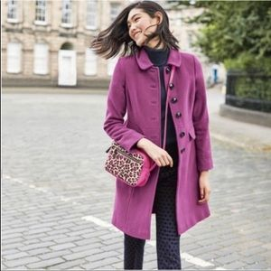 Boden Sophia Orchid Wool/Cashmere Blend Car Coat